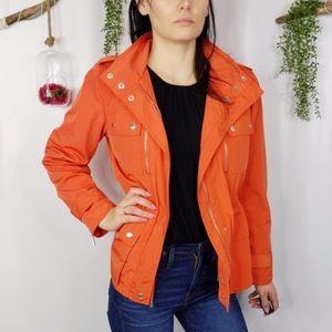 MICHAEL KORS hooded Anorak rain orange jacket 1068